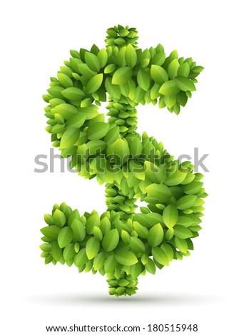 Dollar sign, vector alphabet of green leaves  on white background - stock vector