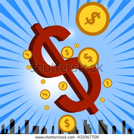 Dollar Signs. Vector background.