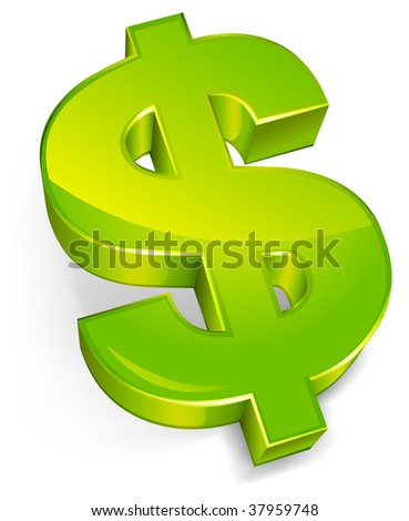 Dollar symbol isolated on a white background, vector illustration - stock vector