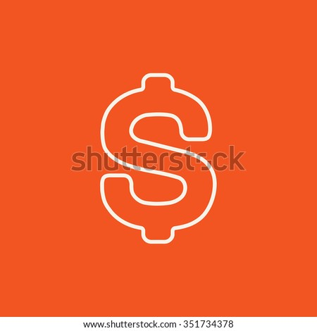 Dollar symbol line icon for web, mobile and infographics. Vector white icon isolated on red background. - stock vector