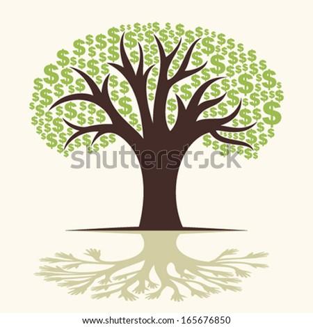 dollar tree shadow  hand tree concept vector - stock vector