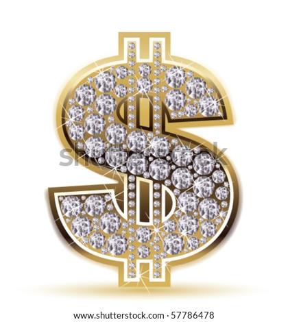 dollar with diamonds - stock vector