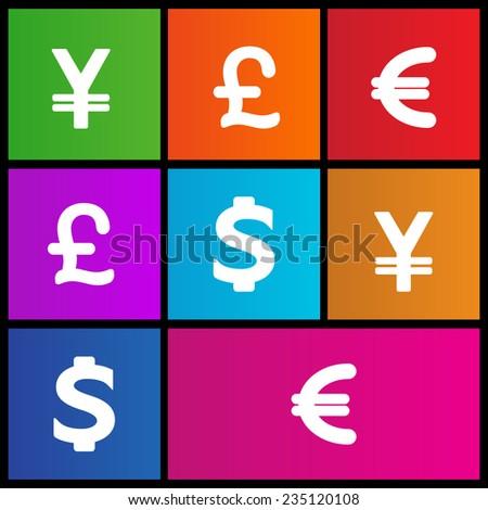 Dollar, Yen, Euro, Pound Signs icon set. Metro style - stock vector