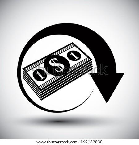 Dollars cash money stack vector simple single color icon. - stock vector