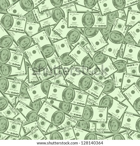 Dollars money seamless  background texture - stock vector