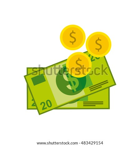 dollars money with business icon vector illustration design