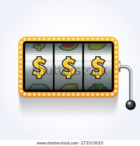 Dollars on slot machine. Vector illustration - stock vector