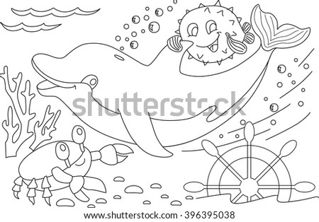 Dolphin and crab friends on the seabed - stock vector