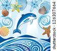 Dolphin and sea pattern vector illustration - stock photo
