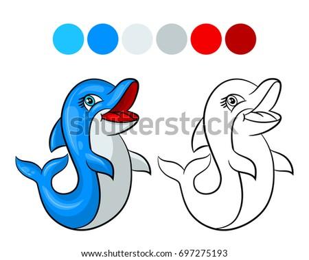 Dolphin Coloring Book Design Kids Children Stock Photo (Photo ...