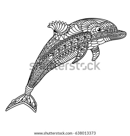 Dolphin Coloring Book Adults Stock Vector HD (Royalty Free ...