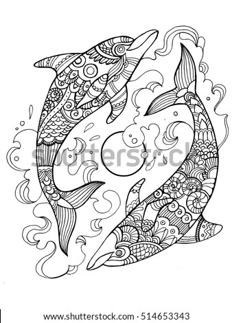 Dolphin tattoo stock images royalty free images vectors for Adult coloring pages dolphin