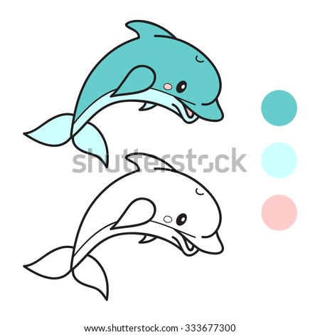dolphin coloring book page cartoon vector illustration game for children - Dolphin Coloring Book