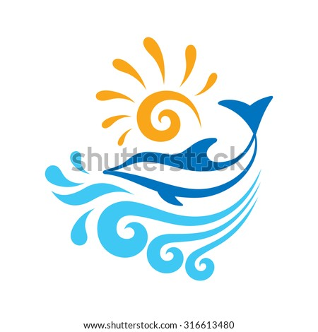 Dolphin - creative sign concept illustration. Sea waves and sun. Summer vacation. Vector logo template. Design element.