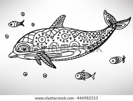 Dolphing stock vectors images vector art shutterstock for Fish symboled stamp