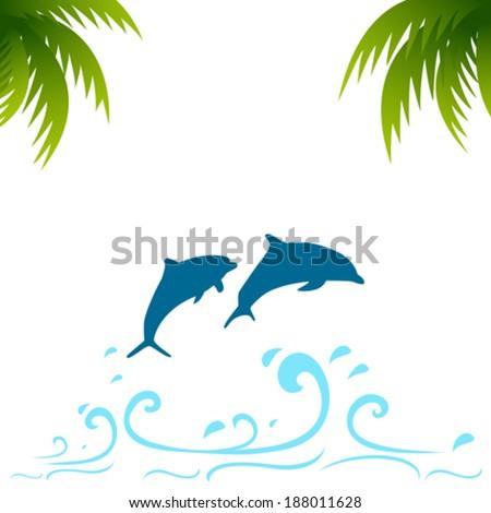 Dolphin in water blue splash - stock vector