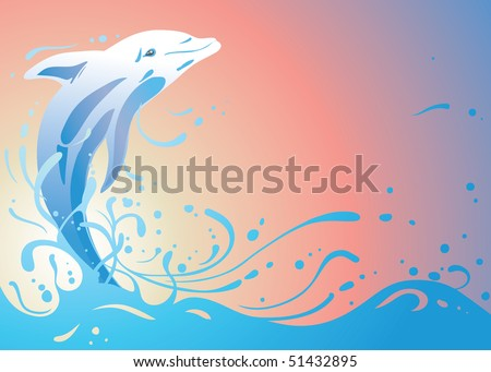 dolphin jumping in the ocean waves at sunset (AI8 with gradient) - stock vector