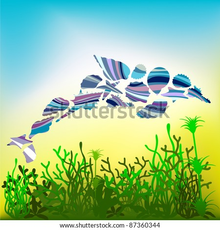 Dolphin over the seabed. Vector - stock vector