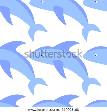 Dolphin seamless pattern background in flat style. Vector illustrations. - stock vector