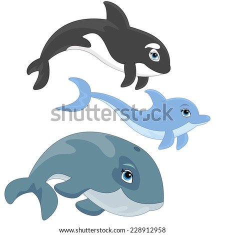 Dolphin, Whale and Killer Whale - stock vector