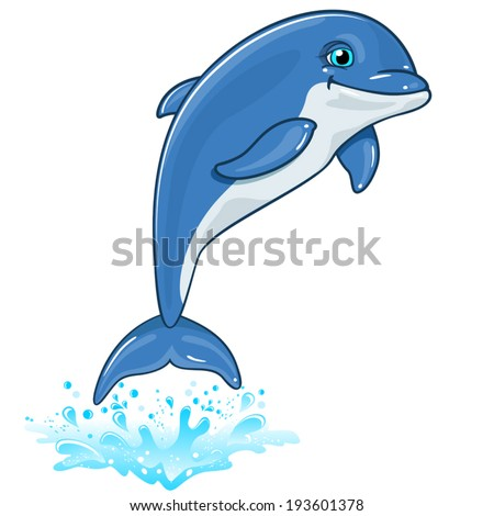 Dolphin with water spray isolated on white background-no transparent-editable- EPS 8 - stock vector