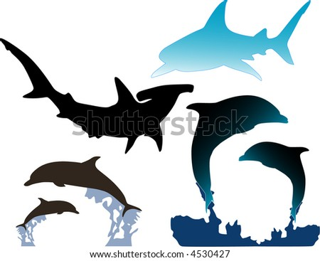 Dolphins and Sharks - stock vector