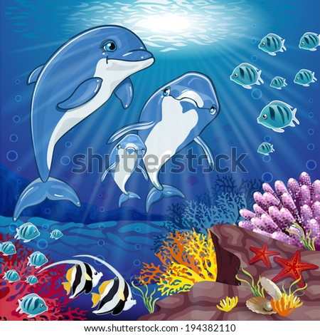Dolphins on sea background-editable-various level  transparency and blending effects gradient mesh-EPS 10 - stock vector