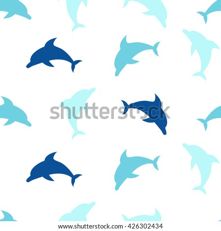 Dolphins seamless pattern background, summer print for textile and card design - stock vector