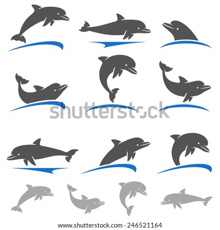 Dolphins set. Vector - stock vector