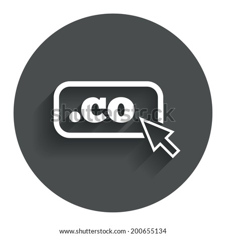 Domain CO sign icon. Top-level internet domain symbol with cursor pointer. Circle flat button with shadow. Modern UI website navigation. Vector - stock vector