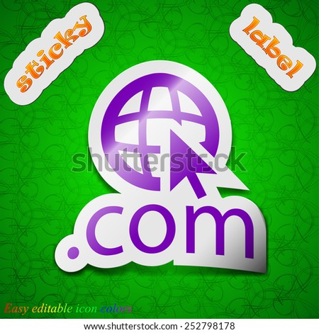 Domain COM icon sign. Symbol chic colored sticky label on green background. Vector illustration - stock vector