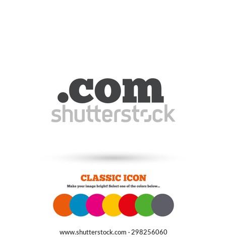 Domain COM sign icon. Top-level internet domain symbol. Classic flat icon. Colored circles. Vector - stock vector
