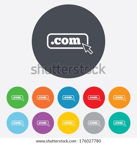 Domain COM sign icon. Top-level internet domain symbol with cursor pointer. Round colourful 11 buttons. Vector - stock vector