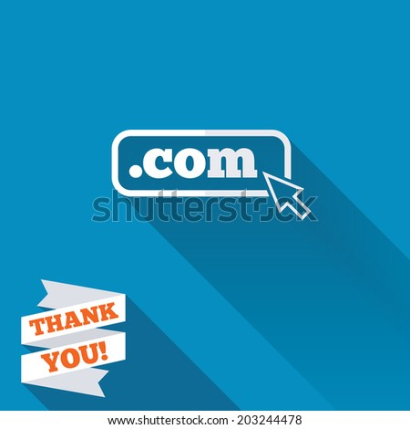 Domain COM sign icon. Top-level internet domain symbol with cursor pointer. White flat icon with long shadow. Paper ribbon label with Thank you text. Vector - stock vector