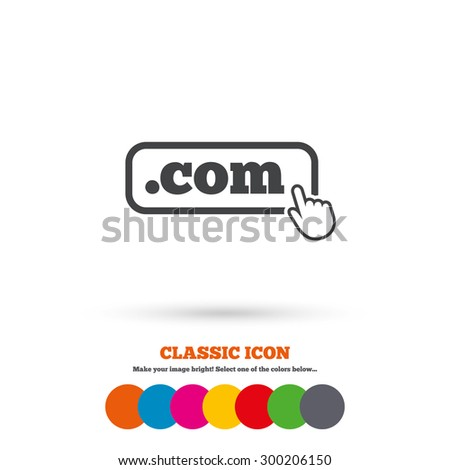 Domain COM sign icon. Top-level internet domain symbol with hand pointer. Classic flat icon. Colored circles. Vector - stock vector