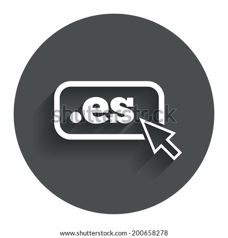 Domain ES sign icon. Top-level internet domain symbol with cursor pointer. Circle flat button with shadow. Modern UI website navigation. Vector - stock vector