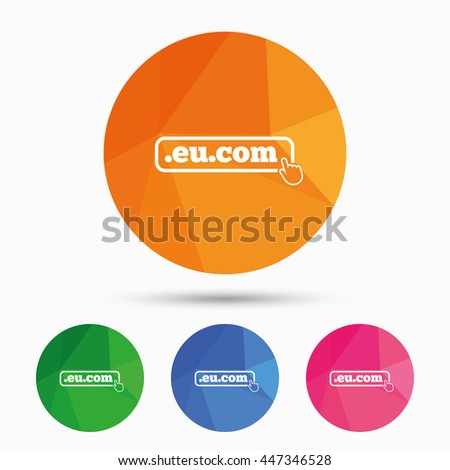Domain EU.COM sign icon. Internet subdomain symbol with hand pointer. Triangular low poly button with flat icon. Vector - stock vector