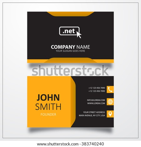 Domain NET icon. Business card template - stock vector