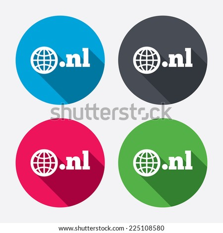Domain NL sign icon. Top-level internet domain symbol with globe. Circle buttons with long shadow. 4 icons set. Vector - stock vector