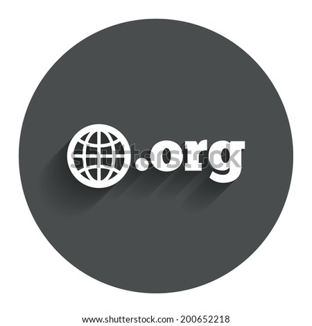 Domain ORG sign icon. Top-level internet domain symbol with globe. Circle flat button with shadow. Modern UI website navigation. Vector - stock vector