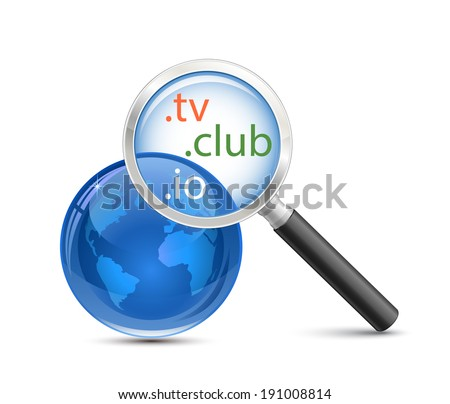 Domain search tool. .io .tv .club domain finder - stock vector