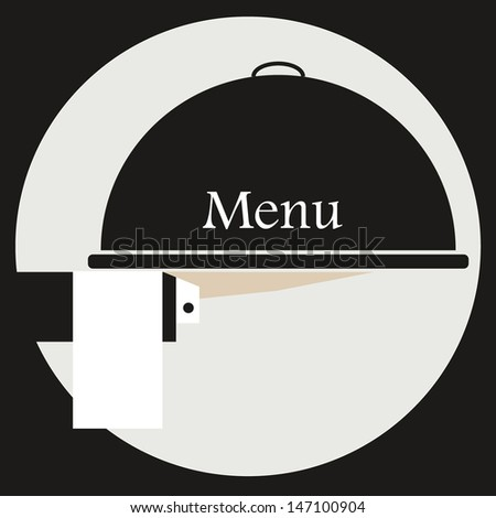 dome sustained by the hand of a waiter in a white suit and black with white cloth, white and black. - stock vector