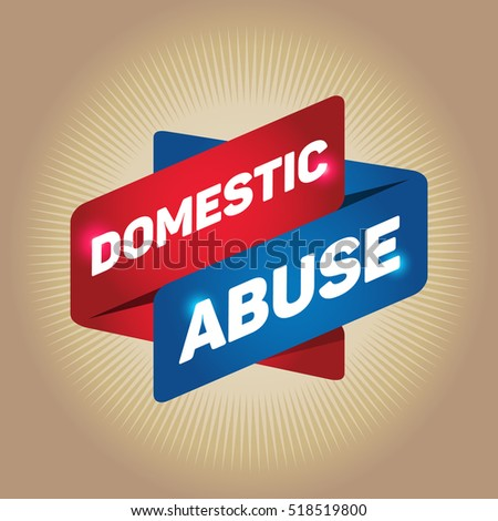 DOMESTIC ABUSE arrow tag sign.