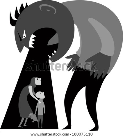 Domestic abuse.Male monster yelling at woman and child representing domestic abuse, grayscale vector illustration - stock vector