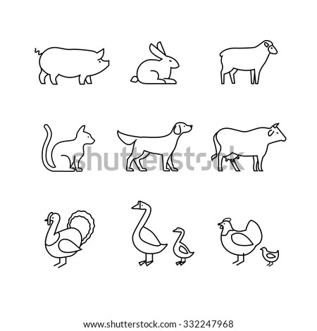 Domestic and farm animals thin line art icons set. Modern black symbols isolated on white for infographics or web use. - stock vector
