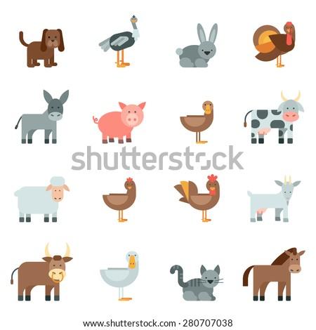 Domestic animal flat icons set with dog rabbit donkey isolated vector illustration - stock vector