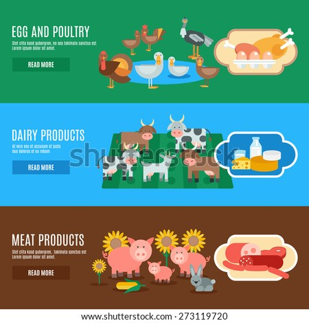 Domestic animals horizontal banner set with egg meat dairy products elements isolated vector illustration - stock vector