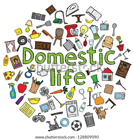 Domestic life vector illustration with several home related doodles. - stock vector