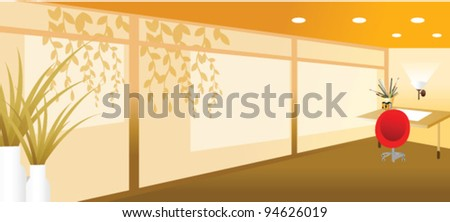 Domestic room with paintbrush and a paint - stock vector