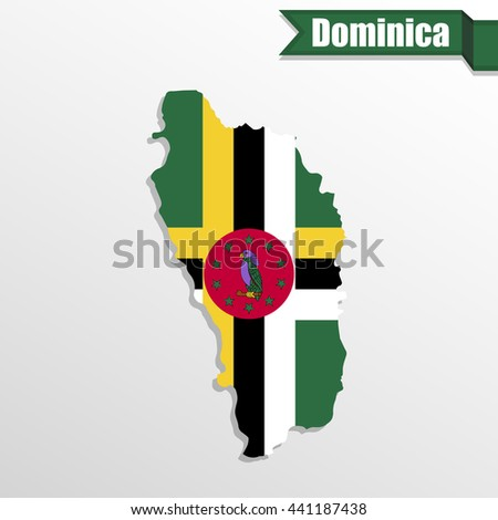 Dominica map with flag inside and ribbon